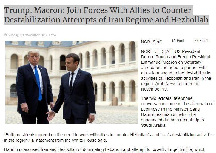 Trump, Macron: Join Forces With Allies to Counter Destabilization Attempts of #Iran Regime &amp; Hezbollah  http:// bit.ly/2yZBiWP  &nbsp;       #Canada #Cdnpoli #BCpoli #ONpoli #HW #SenCA #NDP #LPC #CPC #USA #MTP #ABPoli #MNpoli #IRGC  #BlacklistIRGC<br>http://pic.twitter.com/7mevrVIHQF