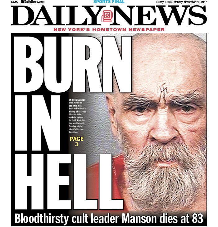 STOP THE PRESSES ... We have a new front!   Notorious cult leader Charles Manson dead at 83 https://t.co/ocqRo7g0IT