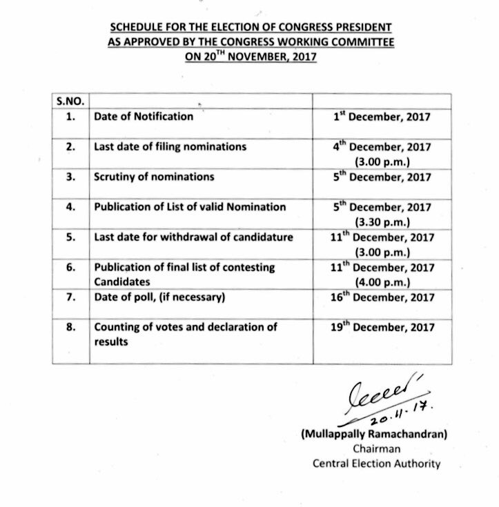 Here is the schedule for the election of Congress President, as approved by the Congress Working Committee today.