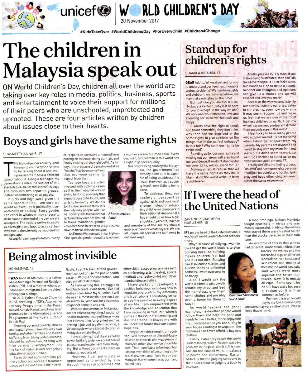 Unicef Malaysia On Twitter Inspiring Thought Provoking Emotional The Children Of Malaysia Speak Out On Bullying Gender Equality And The Right To Education An Nst Online Special For Worldchildrensday Kidstakeover Read More Https T Co
