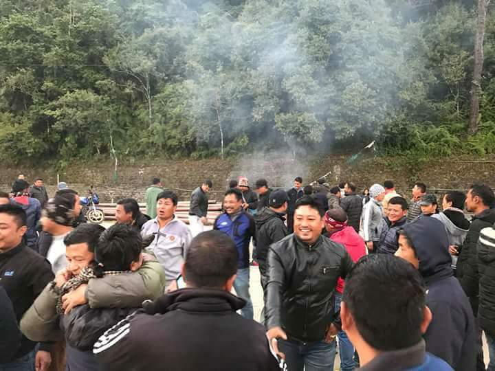#Celebration going on at Lebong GJM party office Darjeeling after the stay order given by Apex Court for Bimal Gurung and other leaders... <br>http://pic.twitter.com/tbyWcibfGp