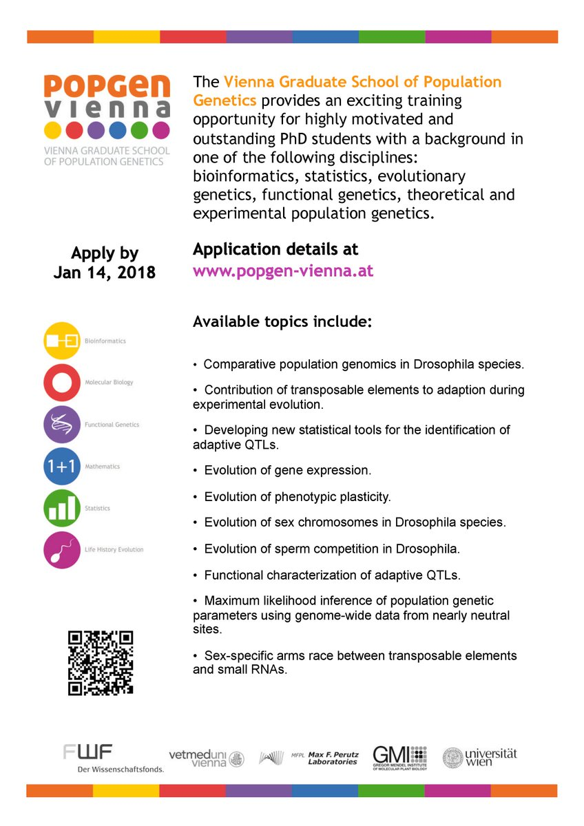 Several PhD positions are now availabe at @PopGenViennaPhD Apply by Jan  14, 2018. #popgenpower #Vienna #evolution #adaptation #drosophila #PhD  #Bioinformatics #genetics #statistics #popgen   http://www. popgen-vienna.at/application/pr ocedure.html &nbsp; … <br>http://pic.twitter.com/H77kvtMbVA