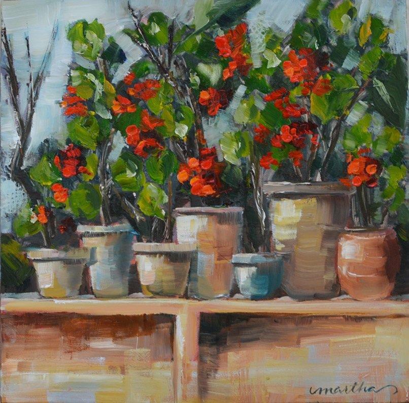 &#39;Pots Of Geraniums&#39; by Martha Lever #art <br>http://pic.twitter.com/vzGyKUFJ9s