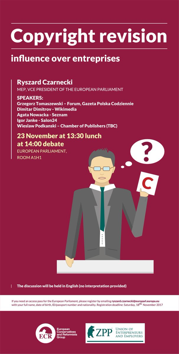 Join this week\s debate on #copyright revision impact over #enterprises @Europarl_EN  @r_czarnecki @GPCodziennie @IgorJanke @AJ_Pawlowska<br>http://pic.twitter.com/4GCCL4YgSw