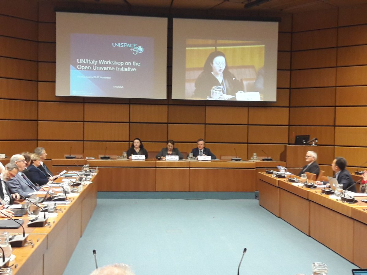 Amb. Accili delivers welcome remarks at #OpenUniverse workshop, jointly organized by @ASI_spazio and @UNOOSA . How to expand accessibility&amp;quality of #SpaceData. Italy&#39;s contribution to #UNISPACE50 and 61st #COPUOS in June 2018 @ItalyMFA  @Palazzo_Chigi  @esa<br>http://pic.twitter.com/XF7txllvrv