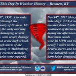 This day is weather history, Bremen KY was struck by a tornado in 1950, and again this past Saturday just south of town.