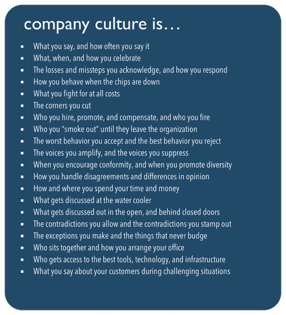 """Whenever I'm in a meeting and someone talks in vague terms about """"culture"""" or """"fit""""   Company culture is ...  #orgdesign #startup #work #agile<br>http://pic.twitter.com/Msl21sTUup"""