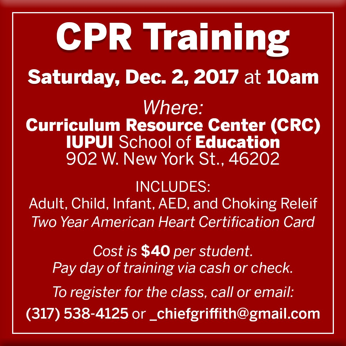 Iu School Of Ed Indy On Twitter Cpr Training In The