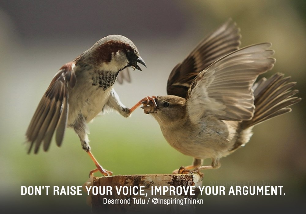 Don't raise your voice. Improve your arg...
