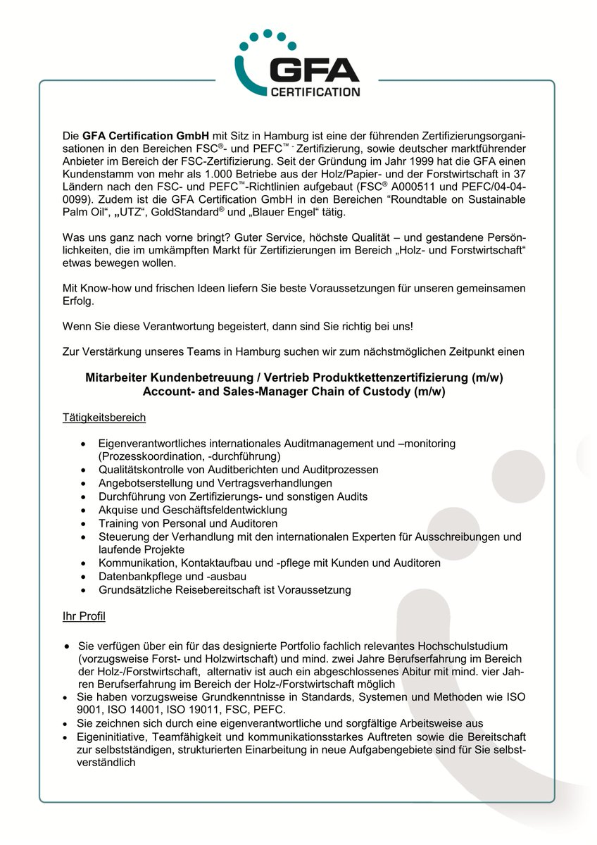 Wir freuen uns auf Ihre #Bewerbung! #Job #CoC #FSC  #PEFCpic.twitter.com/sJA3TSuizp