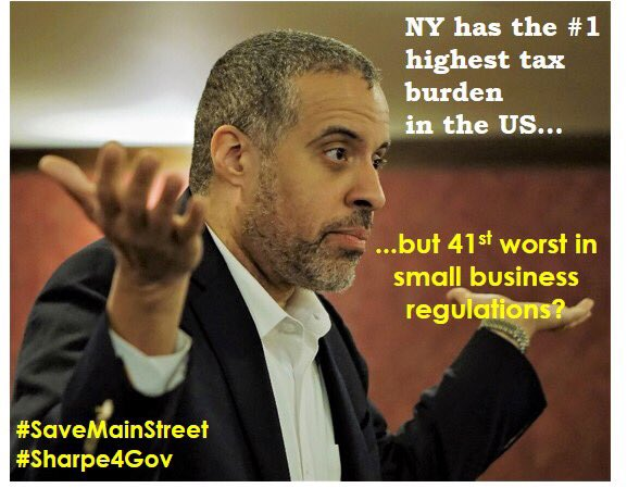 That seems to be the current establishment's answer to everything: more regulations. #Sharpe4Gov #aNewNY #Libertarian #NY #regulation #NYtaxes #SaveMainStreet #SmallBusiness<br>http://pic.twitter.com/dcknITSmnG