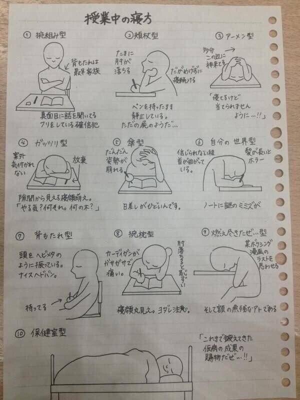 RT @p1ume_: 『授業中の寝方』  わたしは⑨の燃え尽きたぜ...型 https://t.co/0nRWT2wGUT