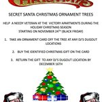 Tis the season for gratitude & giving. Starting Friday, Nov. 24th, DJ's Dugout & Bellevue American Legion Post 339 are teaming up to help Veterans in need at The Victory Apartments with our Secret Santa Trees. See flyer to learn how you can help.