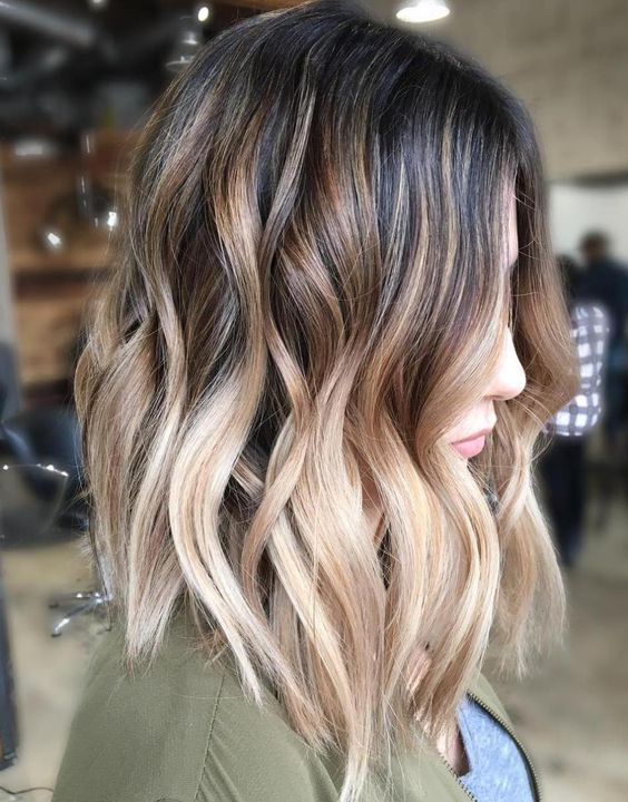Kolorbar On Twitter Long Bob With Beige Ombre Balayage Highlights
