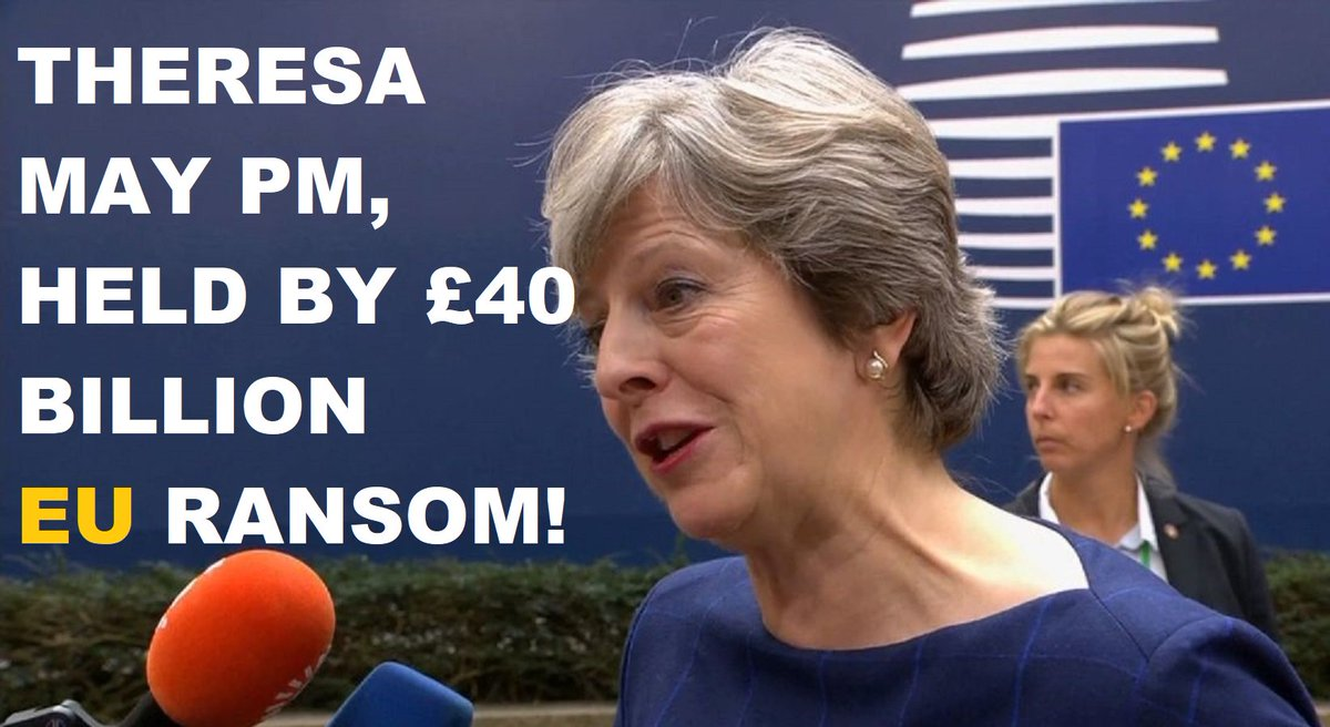 #COWARD #PM @theresa_may set to offer £40bn pounds of #British #Taxpayers money in a #Brexitbill payment to failing #EU! #TheresaMay paying a #RANSOM as she has allowed herself to become a HOSTAGE of #EuropeanUnion! @Conservatives #Tory #ConservativeParty #BBC #SKY #NEWS #UK #MP<br>http://pic.twitter.com/21pN5VL58i