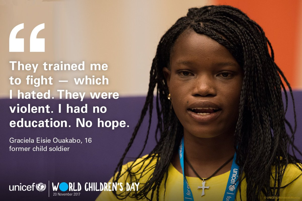 Former child soldier, Graciela, 16, from Central African Republic delivers a heartbreaking personal story on how she became an advocate for children affected by violence.  #WorldChildrensDay #KidsTakeover