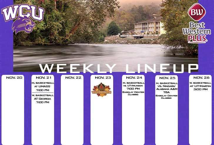 WCU Athletics Weekly Lineup (thru 11-26)