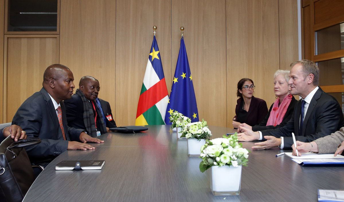 Meeting with President Touadera. Confirmed EU's commitment to supporting the Central African Republic and agreed on importance of justice & reconciliation.