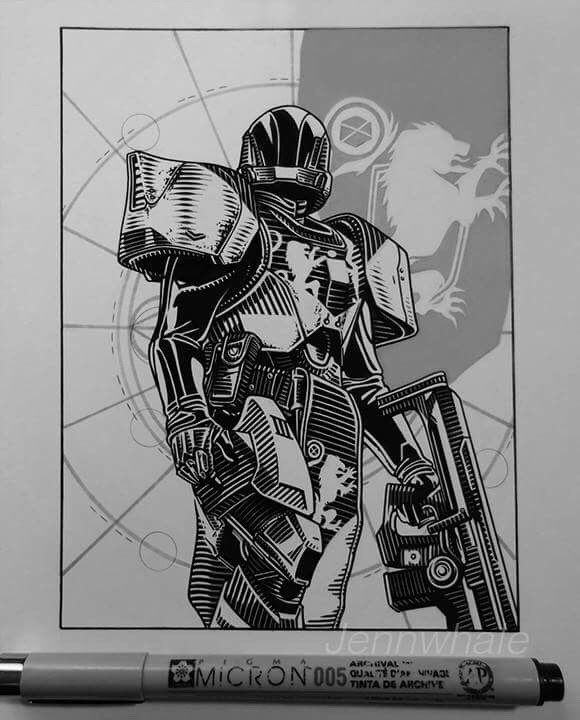 Destiny 2 Titan drawing. Uploading my previous drawings to fill my profile. It looks so empty lol #destinythegame #destiny 2 #bungie<br>http://pic.twitter.com/HAisiYEcS9