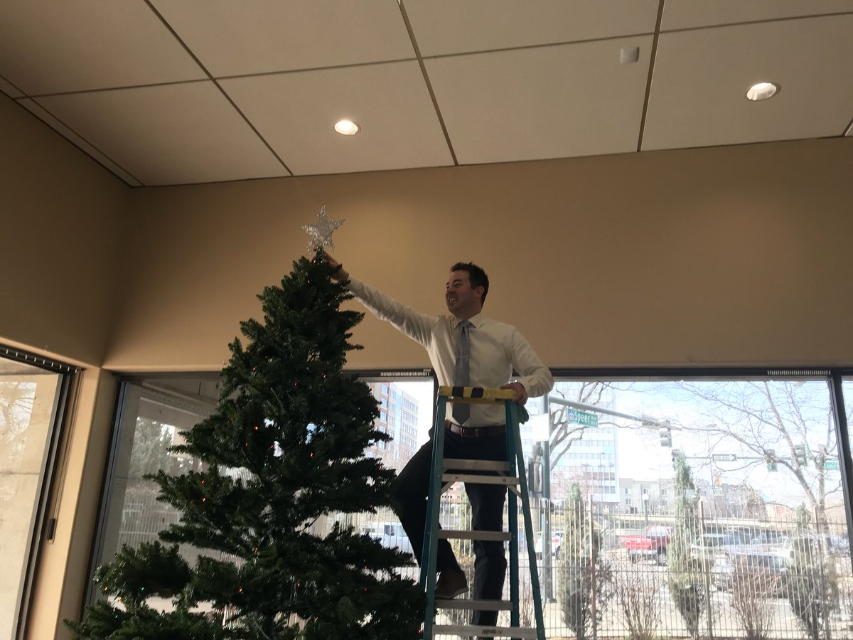 The #decorations are going up at #Denver7 - steady @mattwbenn! @DenverChannel