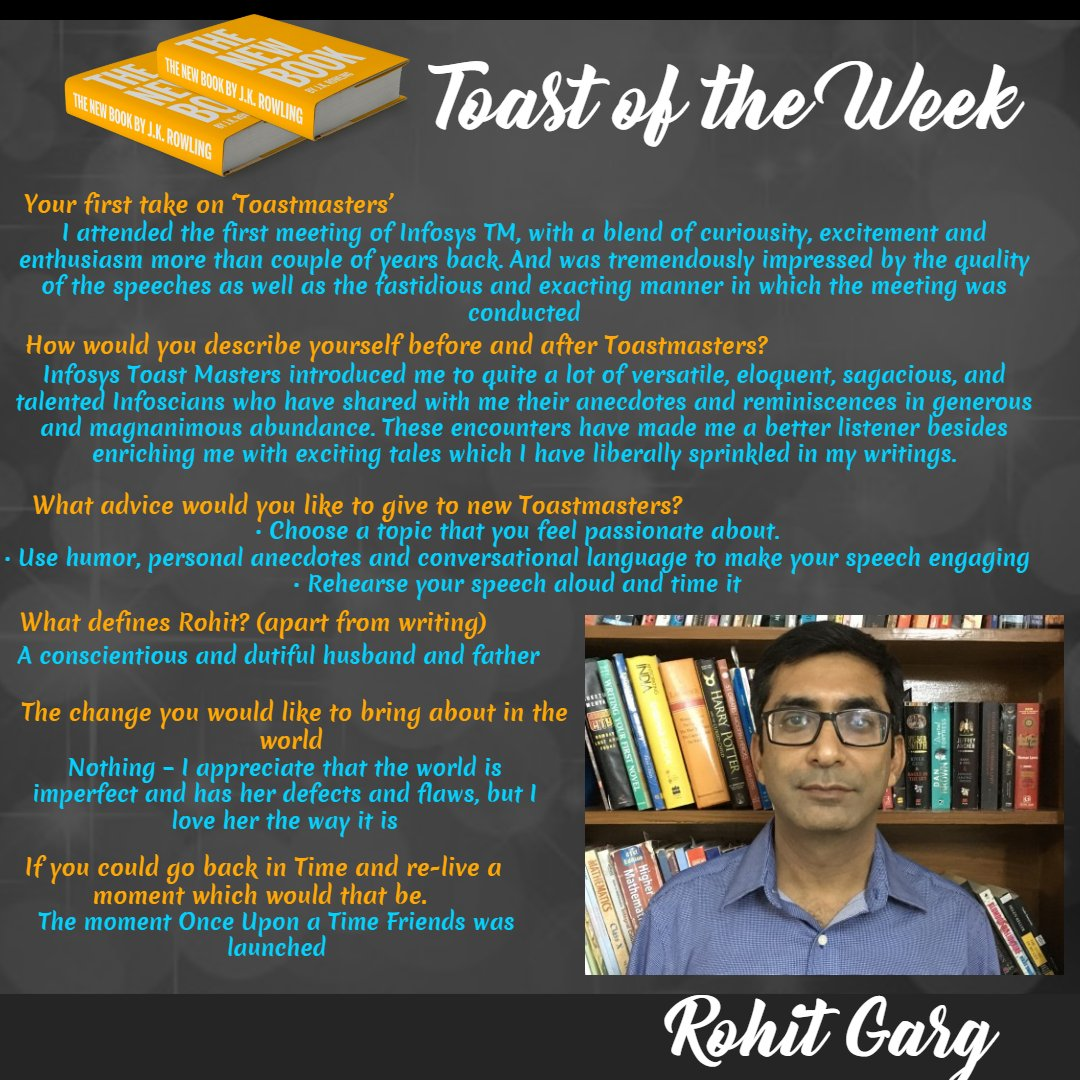 #Toast of the #Week :  #Maestro of #Words Rohit Garg !! #toastmasters #whereleadersaremade #publicspeaking #communication #author<br>http://pic.twitter.com/Mm9eNUn6Nx