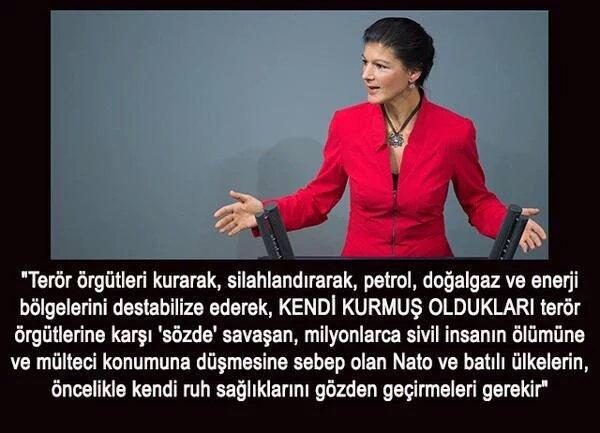 RT @bleagle5: Alman politikacı Sahra Wagenknecht'ın  Dünyada Barışın sağlanması için bir önerisi. https://t.co/YwovWc4wfl