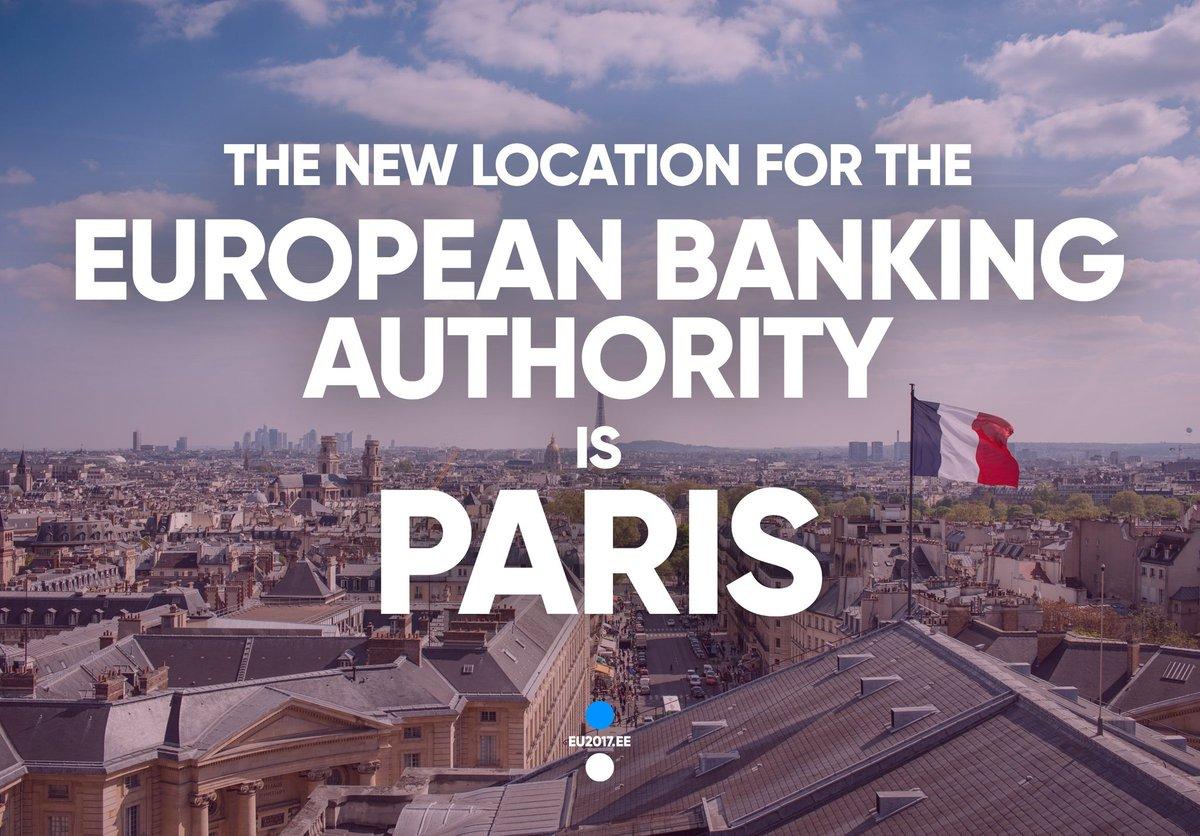 Bonne nouvelle pour la Région @iledefrance puisque l'Autorité Bancaire Européenne annonce faire le choix de s'installer à Paris après le #Brexit !  Bravo à toutes les équipes de @ParisRegion et à celle de notre guichet #ChooseParisRegion pour leur travail !👍👏 #EBA #attractivité