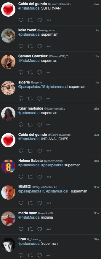 RT @pasapalabraT5: La #PistaMusical de hoy es para @_fraanb_, @PatriJBDL, @CaerdelGuindo y @kekaypunto. https://t.co/gWijRMnVF1