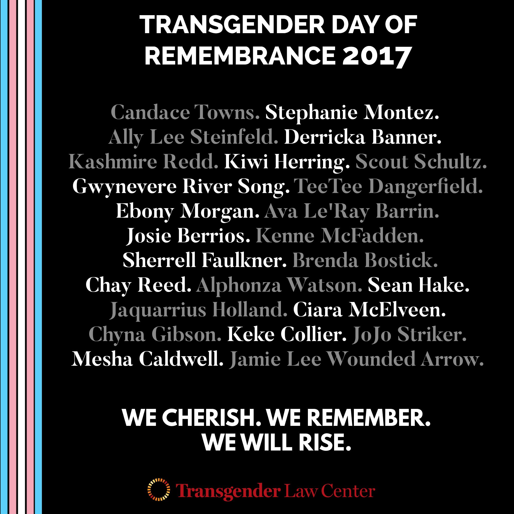 RT @TransLawCenter: We cherish. We remember. We will rise. #TDOR #tdor2017 https://t.co/pHMjxzNzXT