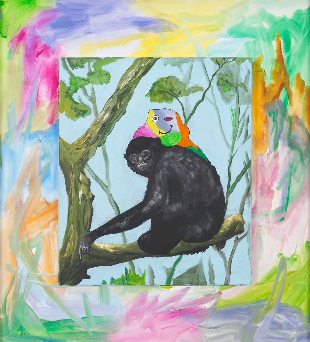 Djordje Ozbolt, &#39;Gibbons Grin,&#39; 2017, acrylic painting on paper + canvas via @herald_st | Galleries 2017 #artbasel <br>http://pic.twitter.com/07QFLd3MqF