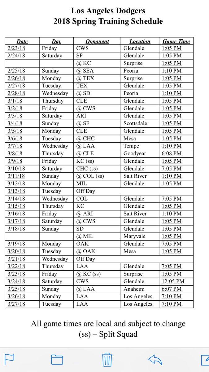 Dodgers Calendar.Dodgers 2018 Spring Training Schedule Dodgers