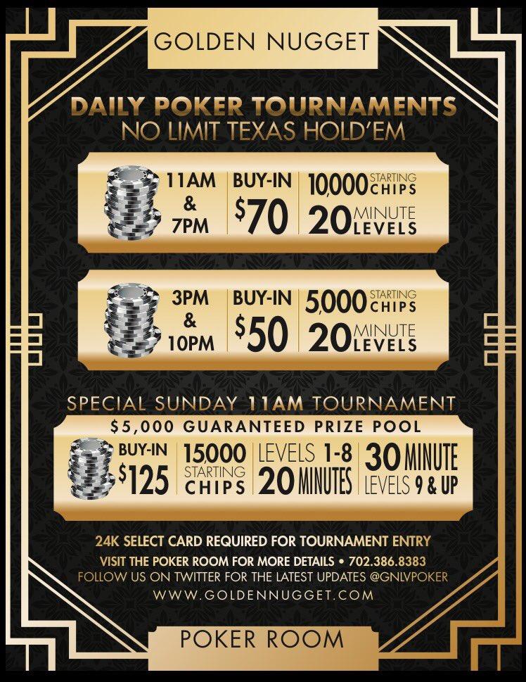 11/20/17 @GNLVpoker #Poker Tournament 3pm $50 buy-in 5k chips 20 min levels Registration open until 5:15pm #FreeParking #MondayNightFootball<br>http://pic.twitter.com/ajOHE2QLHd