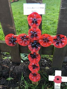 #1stMoxbyMoor Scout Group, #Huby, #Easingwold District in #NorthYorkshire have recently placed their creative #RibbonofPoppies.  Very impressive what you can do with recycled plastic bottles &amp; spray paint.  Well done to the #Scouts for their work &amp; support for the Ribbon  #WW1<br>http://pic.twitter.com/Ncpllgtm7G
