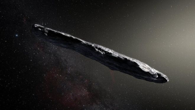 #Espace Un #asteroide qui nous vient de l'espace interstellaire est l'un des objets cosmiques les plus allongés connus : Oumuamua Discovered on 19/10 the object's speed & trajectory strongly suggested it originated in a planetary system around another star  http://www. bbc.com/news/science-e nvironment-42053634   … pic.twitter.com/X3PPN8H4hu
