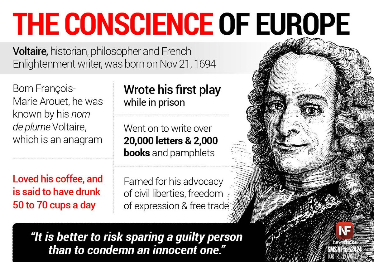 #Voltaire, the French philosopher famous for his wit, was born on Nov 21, 1694 <br>http://pic.twitter.com/TPN9ccMy6O