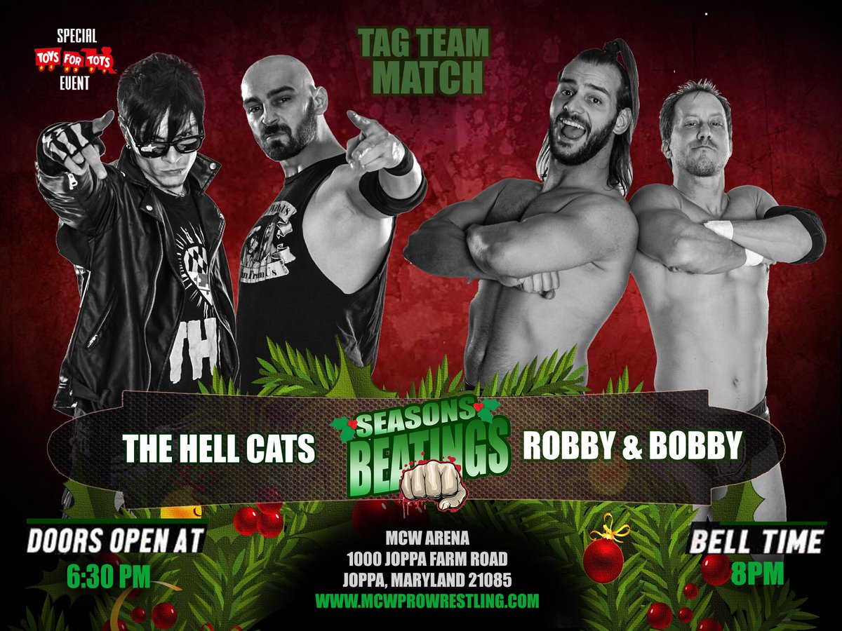 Former #MCW Tag Champs, #THC, have debuted a new found hatred for everyone, including former friends; #PRAS. They used that attitude to beat one of the Hottest new Tag Teams in MCW - Robby &amp; Bobby, who were granted a rematch that will take place at #MCWSeasonsBeatings on Fri 12/1<br>http://pic.twitter.com/6rewOUu1rD