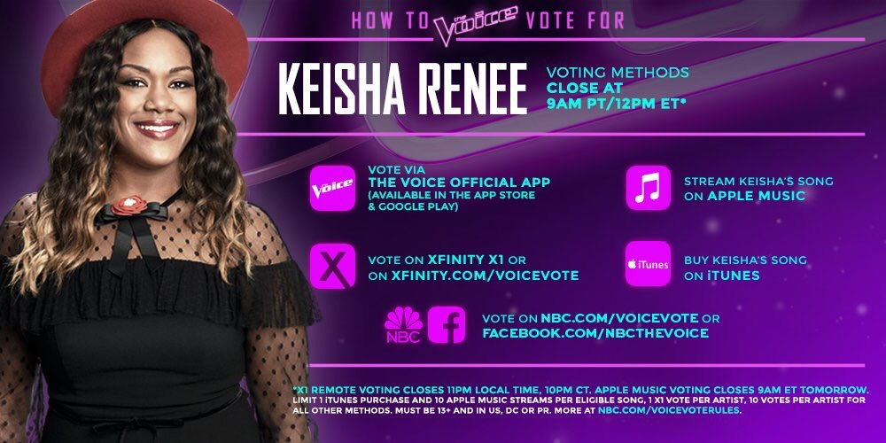 Here's how to vote for @keisharenee!! #TeamBlake #VoiceTop12   Buy her song on iTunes here: https://t.co/InqAzODeaI https://t.co/eH7HmhJxPU