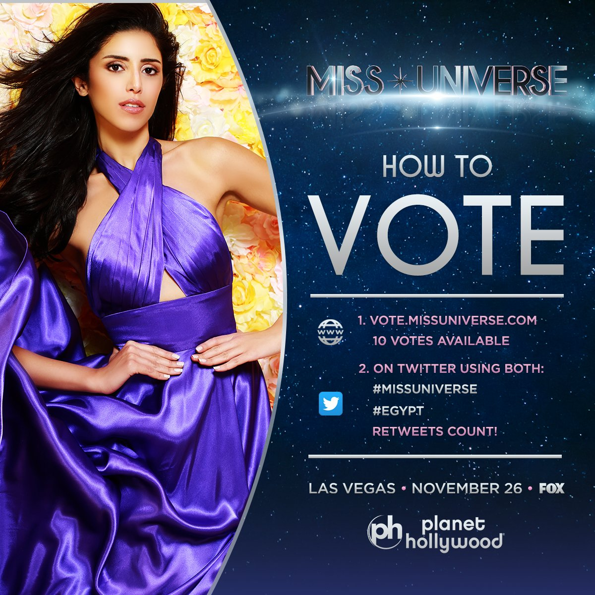 Voting for #MissUniverse is officially OPEN. RT to vote for Miss Universe #Egypt!   Watch her LIVE: Sunday Nov. 26 at 7PM on @FOXTV.<br>http://pic.twitter.com/8WP2QDYRUX