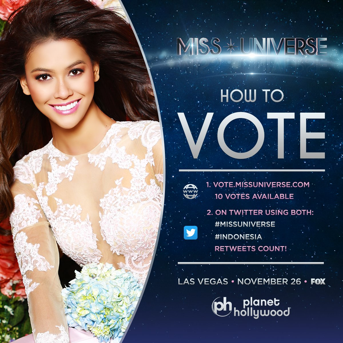 Voting for #MissUniverse is officially OPEN. RT to vote for Miss Universe #Indonesia!   Watch her LIVE: Sunday Nov. 26 at 7PM on @FOXTV.