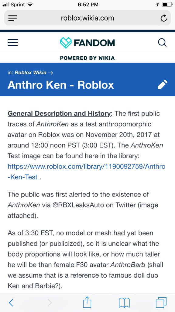 Rbxleaksauto On Twitter Name Anthro Ken Test Id 1190092759 Https T Co 5avlbdhdh2