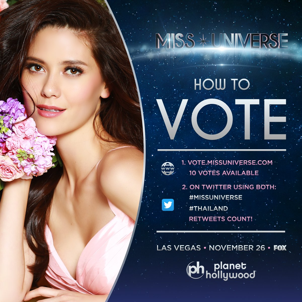 Voting for #MissUniverse is officially OPEN. RT to vote for Miss Universe #Thailand!   Watch her LIVE: Sunday Nov. 26 at 7PM on @FOXTV.