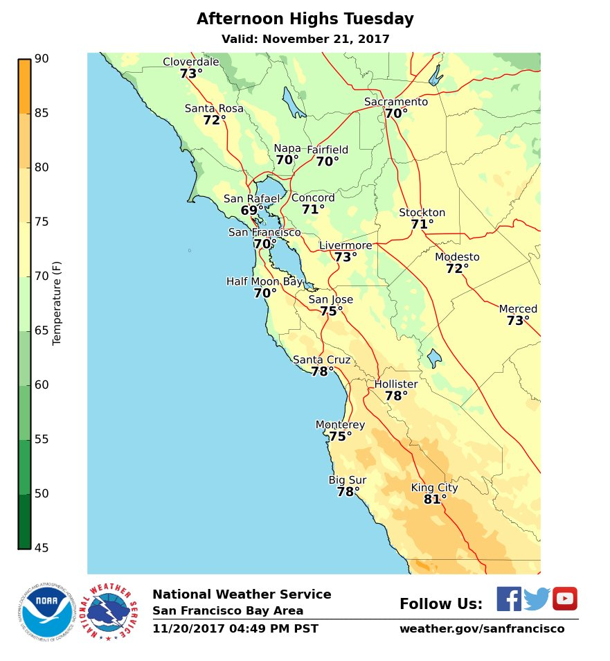 Anyone with outdoor plans tomorrow?  The weather will be much warmer than normal especially for spots south of #SF. Look for more sunshine the farther south you are. #cawx<br>http://pic.twitter.com/gGUBqOqzUm