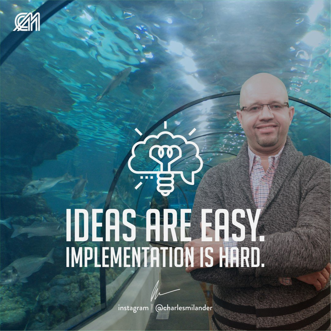 Ideas are easy. Implementation is hard. #charlesmilander #boss #business #quote #entrepreneurship #entrepreneur #motivation #inspiration #goals #dreams #hustle #grind #lifestyle #success #money #instaquote #newyork #work #working #startup #passion #hardwork #happiness<br>http://pic.twitter.com/CYMIEffGcQ