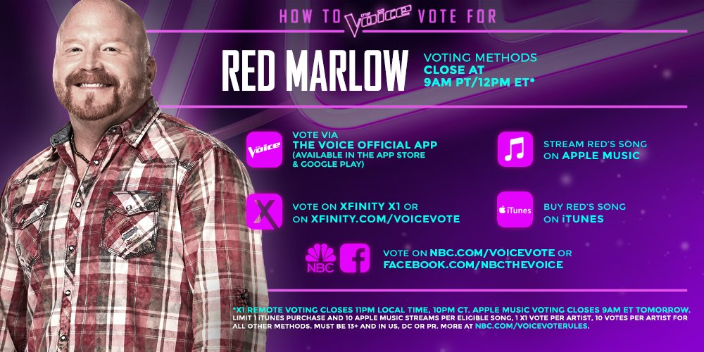 RT @NBCTheVoice: RT if @redmarlow's country blues have your votes tonight. #VoiceTop12 https://t.co/YwcTTKPZoA