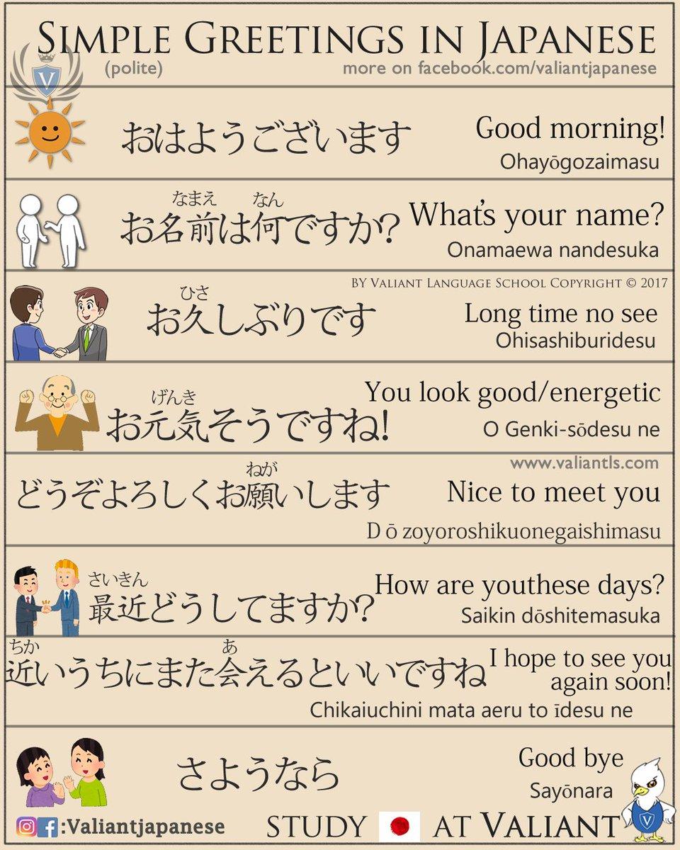 Valiant School On Twitter Simple Japanese Greetings Japan