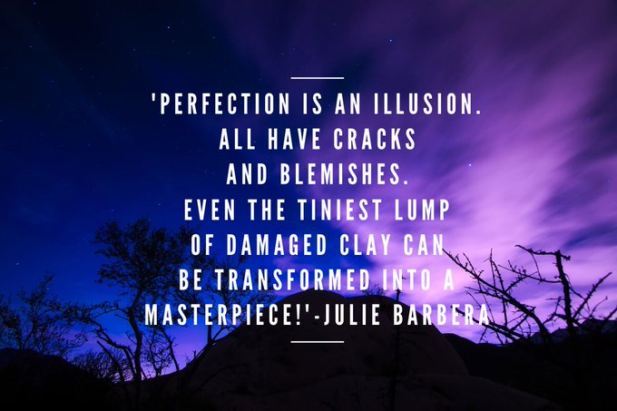 #PERFECTION IS AN #ILLUSION. ALL HAVE CRACKS AND BLEMISHES. EVEN THE TINIEST LUMP OF DAMAGED CLAY CAN BE #TRANSFORMED INTO A #MASTERPIECE  via @Inspireu2Action  #ThinkBIGSundayWithMarsha #InspireThemRetweetTuesday #IQRTG #JoyTrain  #TuesdayThoughts #TuesdayMotivation #Faith<br>http://pic.twitter.com/uEUOzUeZ6o