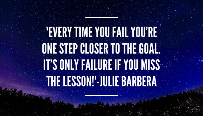 EVERY TIME YOU #FAIL YOU'RE ONE STEP CLOSER TO THE #GOAL. IT'S ONLY #FAILURE IF YOU MISS THE #LESSON  via @Inspireu2Action  #ThinkBIGSundayWithMarsha #InspireThemRetweetTuesday #IQRTG #JoyTrain  #TuesdayThoughts #TuesdayMotivation #Faith<br>http://pic.twitter.com/q4m4qfc203