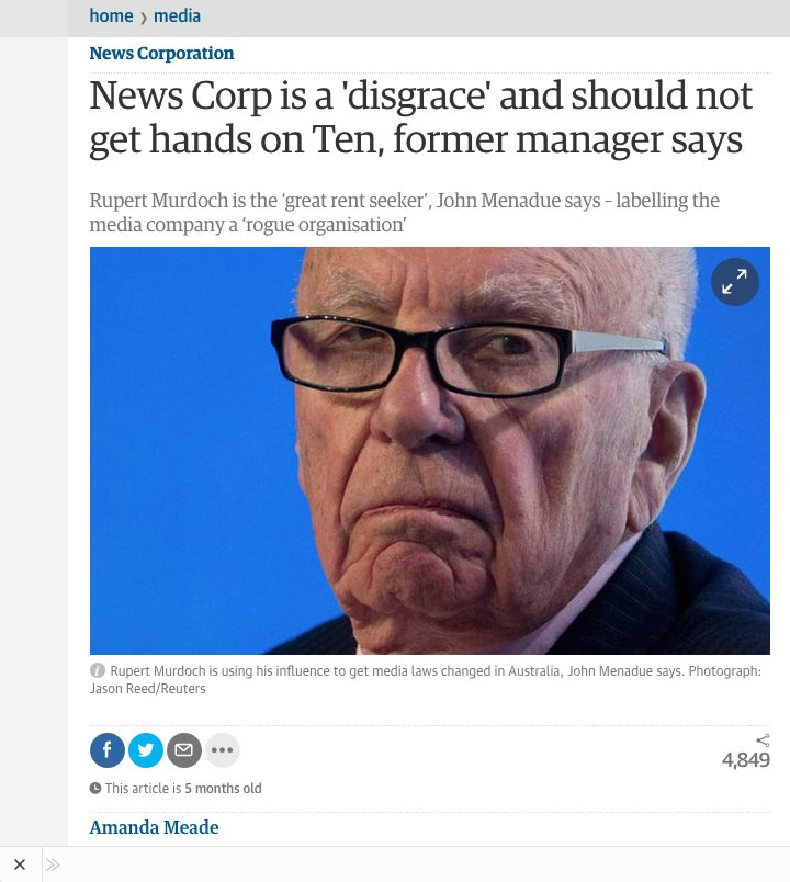 @wvjoe911 'In an extraordinary interview Mr. Menadu (former head of Dept. PM & Cabinet) described Newscorp as 'rogue organisation' and a 'disgraceful organisation'..trampling democracy in 3 nations.'..prior to Lachlan Murdoch's failed  bid for Channel Ten.