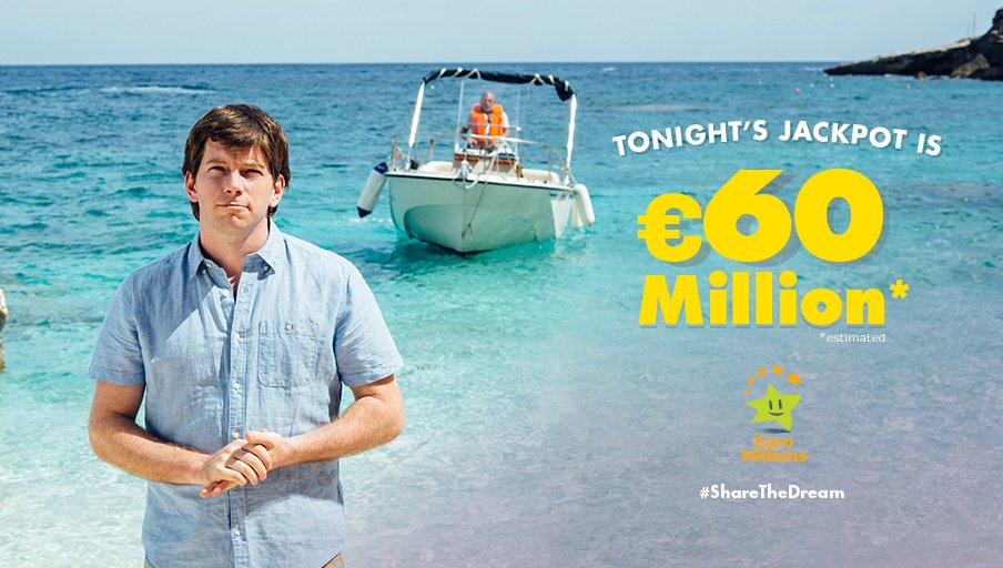 Local man Donal has won the &#39;Big Enough to Go Island Shopping' Jackpot and is thinking of what to spend it on!  Tonight&#39;s #EuroMillions Jackpot is €60 Million est. #ShareTheDream Play before 7.30 pm this evening --&gt;  http:// bit.ly/2zRQsRx  &nbsp;   Play responsibly - Play for fun!<br>http://pic.twitter.com/RTSzVQcTjX