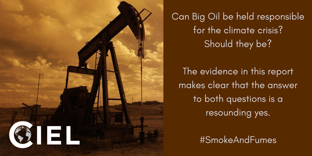 Even more important after today&#39;s Keystone XL news: @ciel_tweets&#39;s bombshell #SmokeAndFumes report shows that fossil fuel companies can—and should—be held responsible for the impacts of the climate crisis  http:// bit.ly/2mNfTP1  &nbsp;   #ExxonKnew <br>http://pic.twitter.com/nQmJYb8QDm